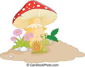caracol, caricatura, cogumelo, sob