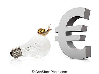 caracol, en, bombilla, euro