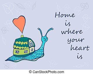 caracol, su, casa, mano, dibujado