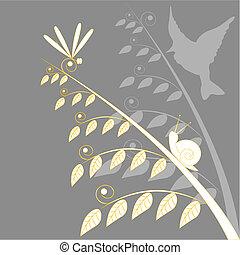 caracol, y, libélula
