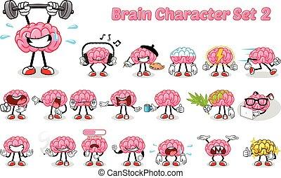 caractère, 2, ensemble, cerveau, dessin animé