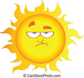 caractère, abaissement, dessin animé, soleil