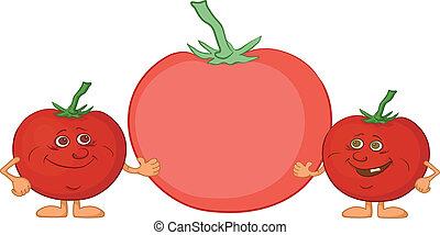 caractère, amis, tomates