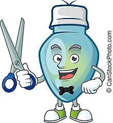 caractère, ampoule, dessin animé, mascotte, noël, style, heureux, coiffeur, bleu