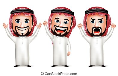 caractère, arabe, homme, dessin animé, saoudien