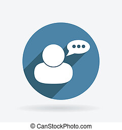 caractère, avatar, dialogue., cercle, bleu, icône, à,...