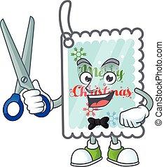 caractère, carte, dessin animé, mascotte, noël, style, salutation, heureux, coiffeur
