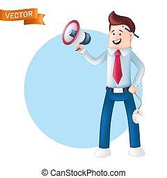 caractère, chemise, it., cravate, bullhorn, main, oreille, derrière, homme affaires, bleu, crayon, souris, directeur, habillé, vecteur, heureux, tenue, porte voix, informatique, sourire, cris, bureau