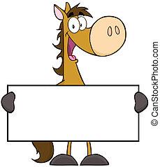 caractère, cheval, bannière, tenue