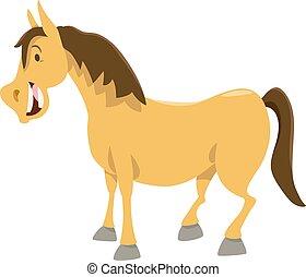caractère, cheval, dessin animé, animal