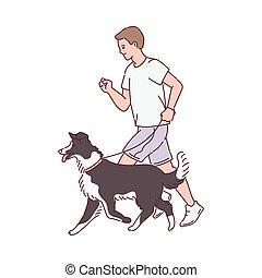 caractère, chien, illustration, marche, sien, homme, isolated., croquis, dessin animé, vecteur