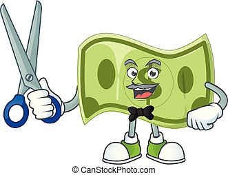 caractère, coiffeur, argent, dessin animé, mascotte, papier