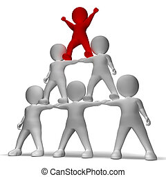 caractère, collaboration, hiérarchie, pyramide, spectacles, 3d