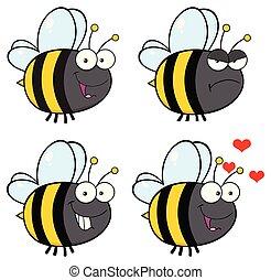 caractère, -, collection, abeille, 2, dessin animé, mascotte