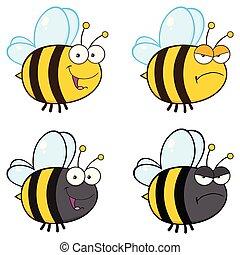 caractère, -, collection, abeille, 3, dessin animé, mascotte