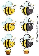 caractère, -, collection, abeille, 4, dessin animé, mascotte