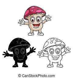 caractère, coloration, champignon, livre