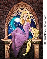 caractère, conte, fenêtre, rapunzel, siiting, devant, fée