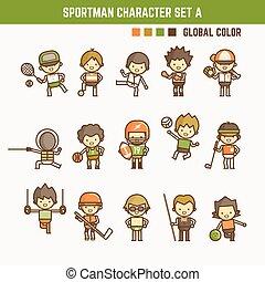 caractère, contour, sportman, ensemble, dessin animé