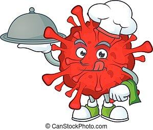 caractère, coronaviruses, plateau nourriture, chef cuistot, dangereux, dessin animé