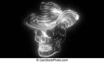 caractère, cow-boy, numérique, feutre, néon, vidéo, spooky, ...