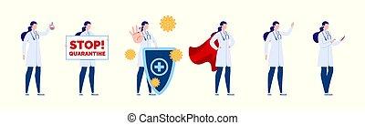caractère, création, isolated., docteur., poses, gestures., docteur, ensemble, divers, femme