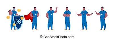 caractère, création, isolated., docteur., poses, gestures., docteur, mâle, ensemble, divers