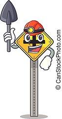 caractère, croisement, mineur, bord route, signe