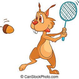 caractère, dessin animé, écureuil