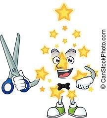 caractère, dessin animé, étoile, mascotte, noël, style, heureux, coiffeur