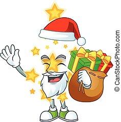caractère, dessin animé, étoile, noël, sac, conception, santa, cadeau