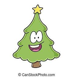 caractère, dessin animé, arbre, noël heureux, sourire