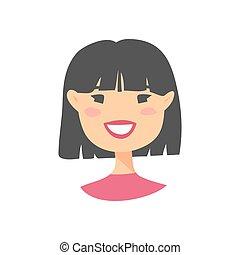 caractère, dessin animé, asiatique féminin