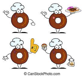 caractère, dessin animé, beignets