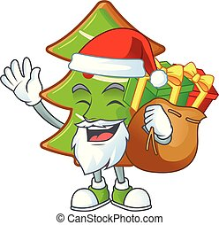caractère, dessin animé, biscuits, sac, arbres, conception, santa, cadeau