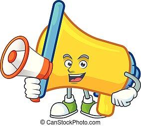 caractère, dessin animé, bullhorn, haut-parleur, jaune, porte voix