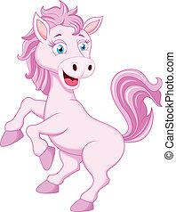 caractère, dessin animé, cheval