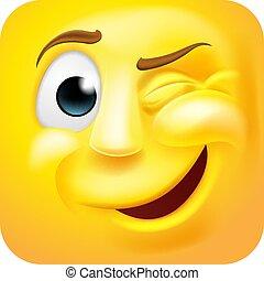 caractère, dessin animé, cligner, 3d, emoticon, icône, emoji