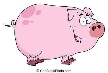 caractère, dessin animé, cochon