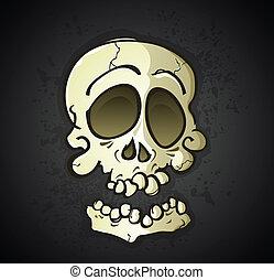 caractère, dessin animé, crâne