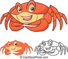 caractère, dessin animé, crabe