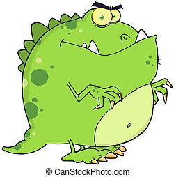 caractère, dessin animé, dinosaure, vert