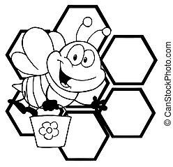 caractère, dessin animé, esquissé, abeille