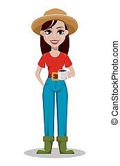 caractère, dessin animé, femme, paysan