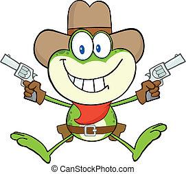 caractère, dessin animé, grenouille, cow-boy