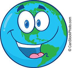 caractère, dessin animé, la terre