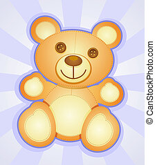 caractère, dessin animé, ours, teddy
