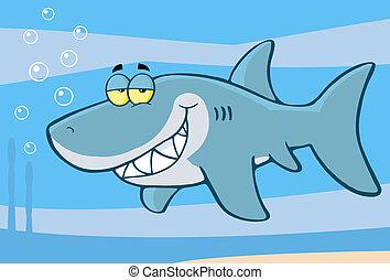 caractère, dessin animé, requin