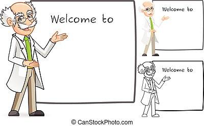 caractère, dessin animé, scientifique