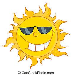 caractère, dessin animé, soleil, mascotte